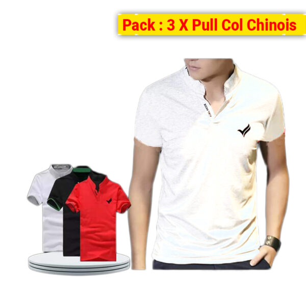 Pack 3 X Pull Homme Col Chinois
